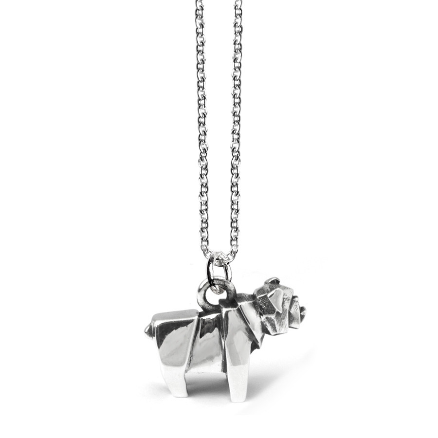 Dog Fever English Bulldog Origami Necklace In Sterling Silver
