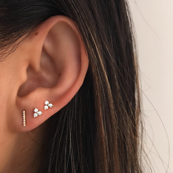 EF Collection Black Diamond Bar Stud Earrings on model