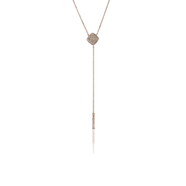 Diamond Y Necklace in Rose Gold