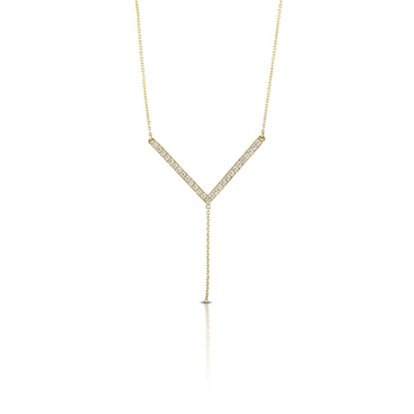 Diamond Y Necklace in Yellow Gold