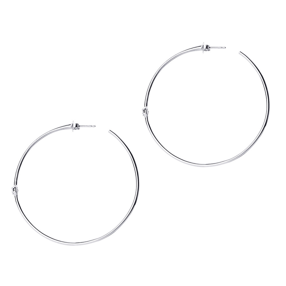 White Gold Rosette Diamond Hoop Earrings by Carbon & Hyde Side View