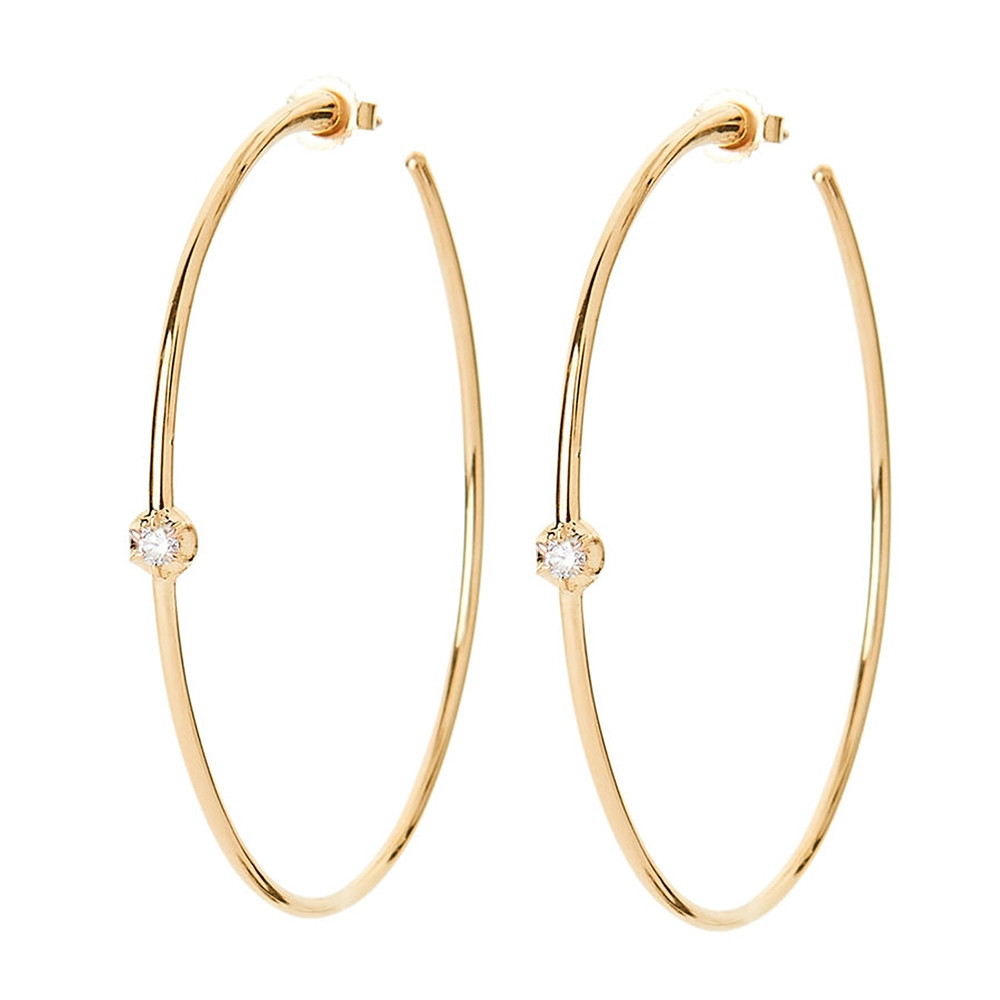 Yellow Gold Rosette Diamond Hoop Earrings by Carbon & Hyde Angle View