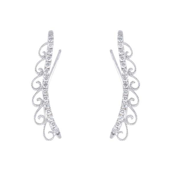 White Gold Pave Diamond Scroll Ear Climbers