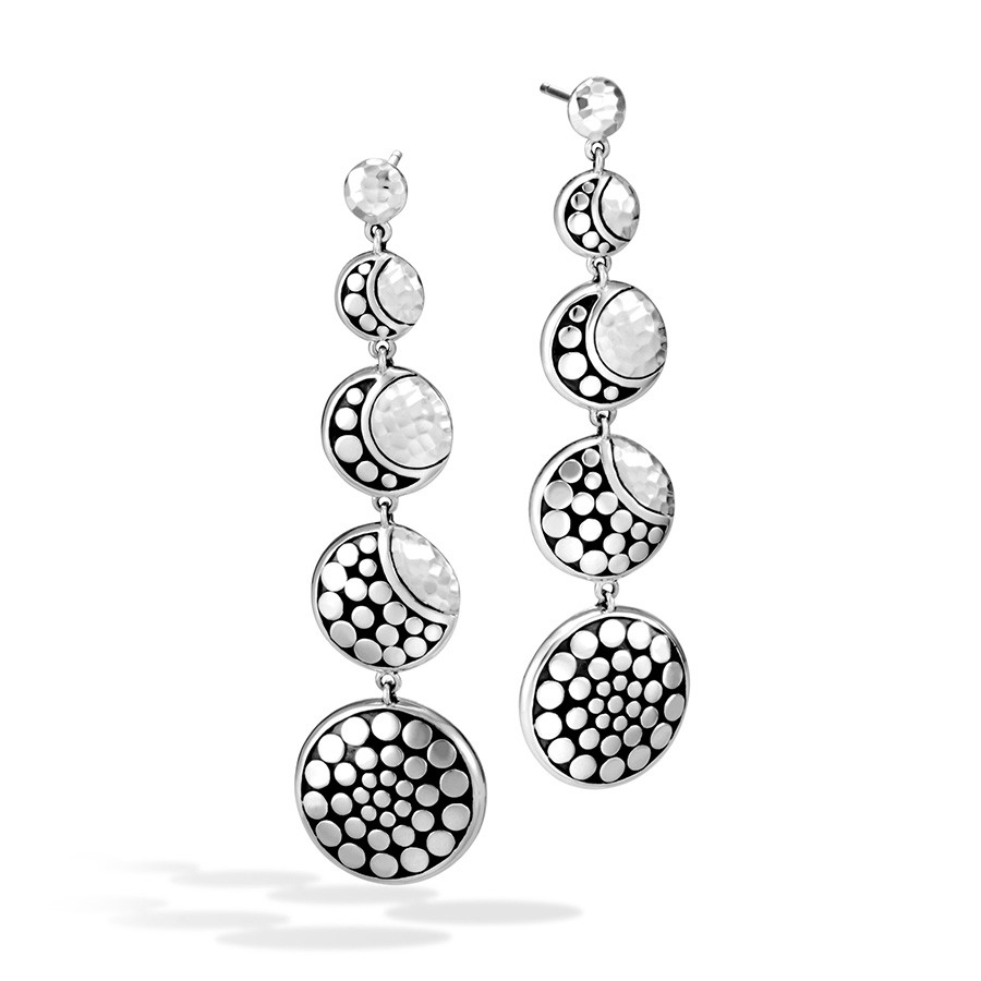 John Hardy Moonphase Dot Hammered Silver Drop Earrings