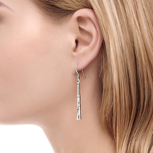 John Hardy Bamboo Silver Drop Earrings on Model