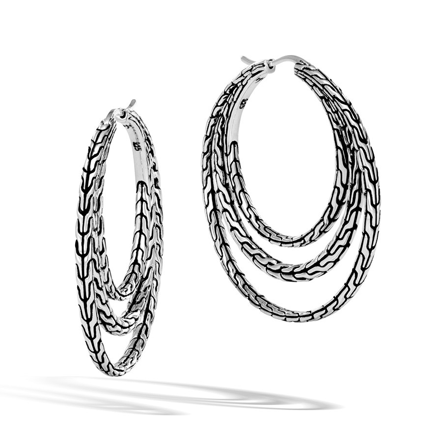 John Hardy Classic Chain Medium Silver Hoop Three Row Earrings