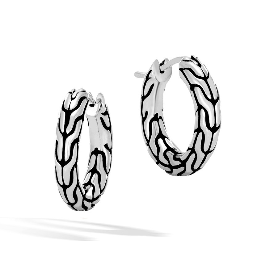 John Hardy Small Silver Classic Chain Hoop Earrings