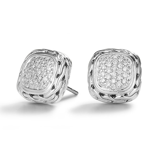 John Hardy Classic Chain Small Square Pave Silver Earrings