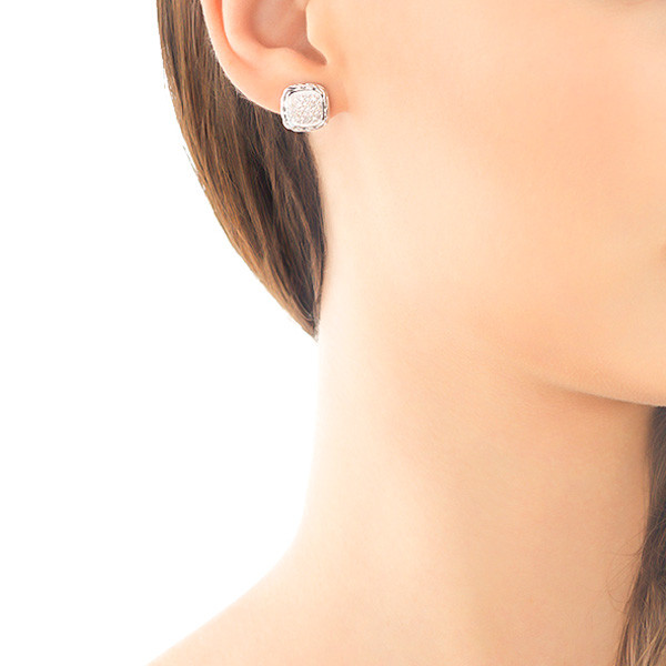 John Hardy Classic Chain Small Square Pave Silver Earrings On Model