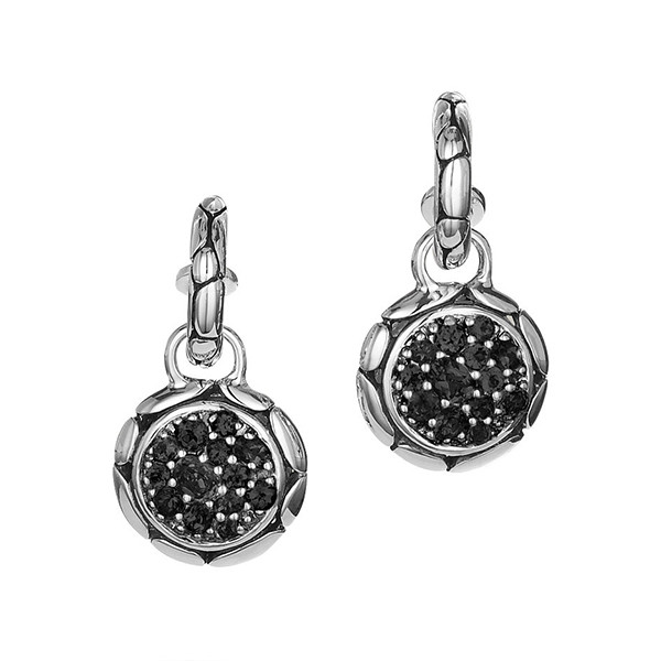 Kali Batu Black Shire Removable Round Drop Hoop Earrings