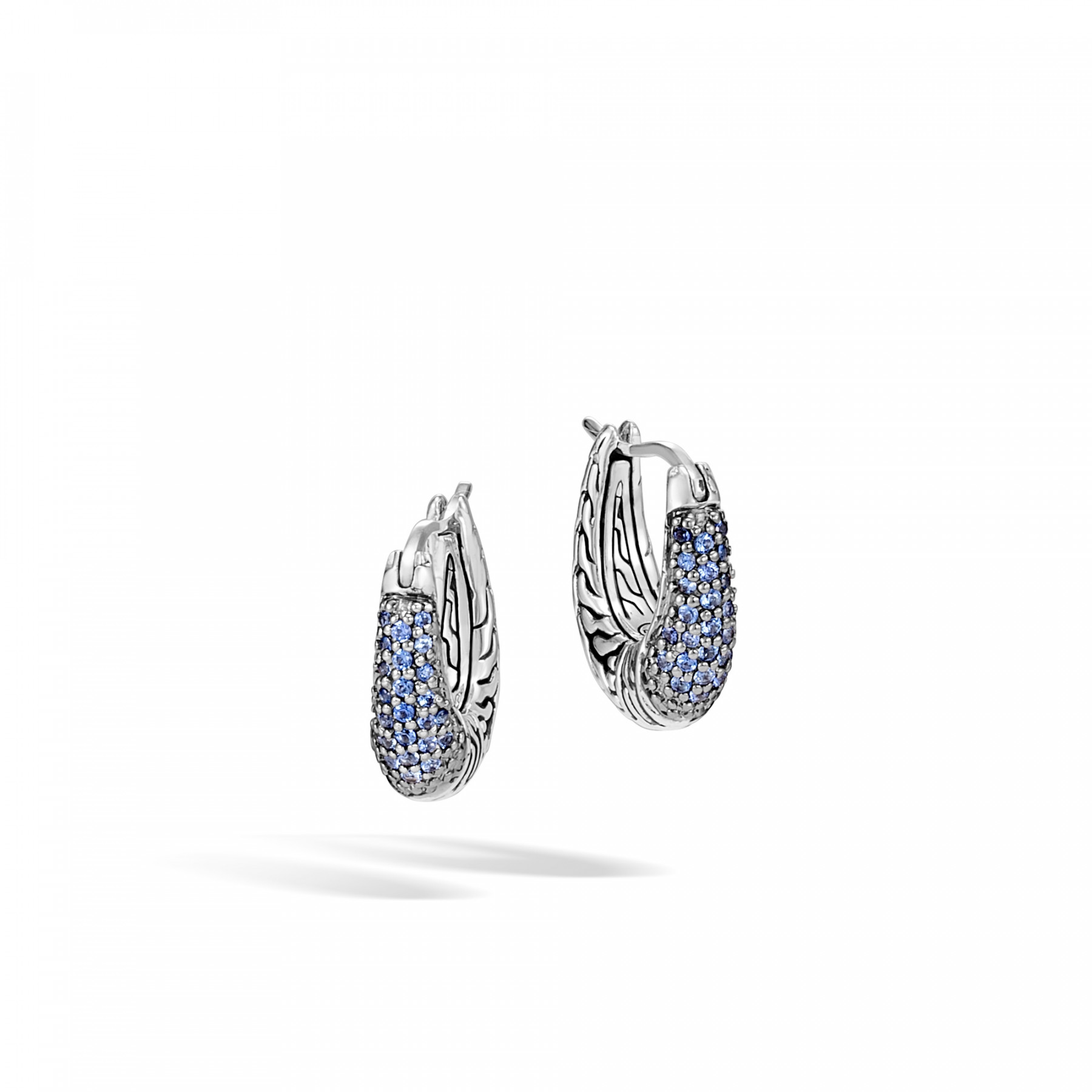 John Hardy Classic Chain Blue Sapphire Hoop Earrings