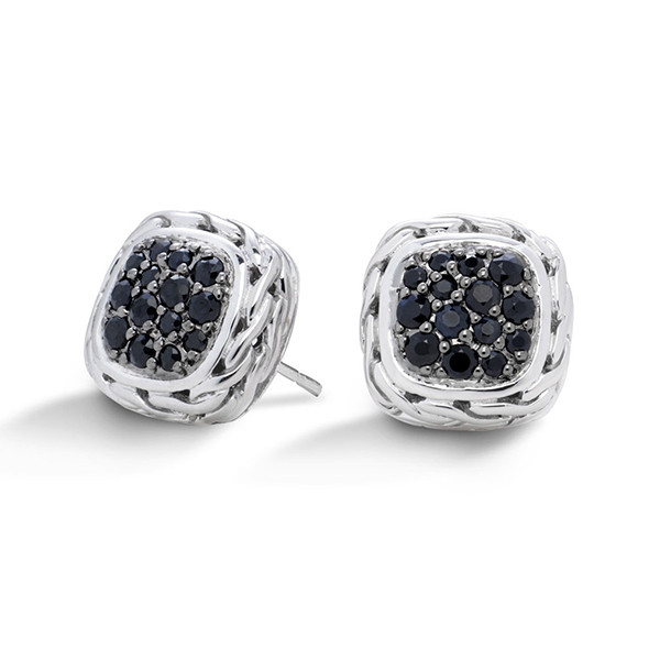 John Hardy Classic Chain Silver Small Square Sapphire Earrings