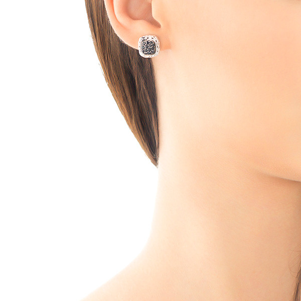 John Hardy Classic Chain Silver Small Square Sapphire Earrings On Model
