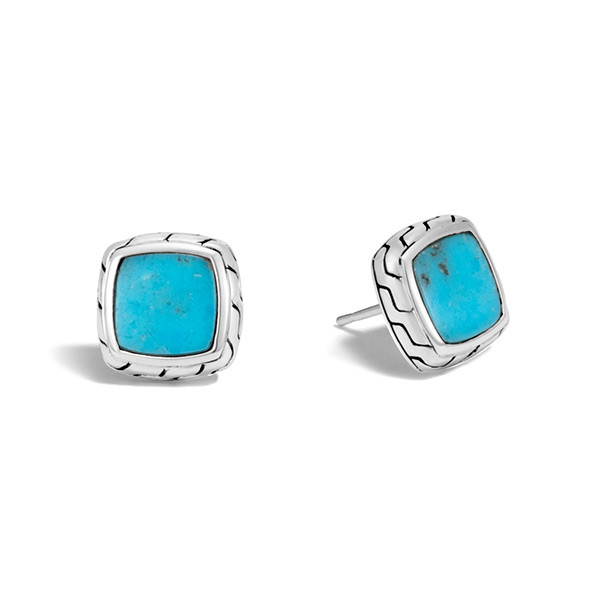 John Hardy Turquoise Classic Chain Stud Earrings