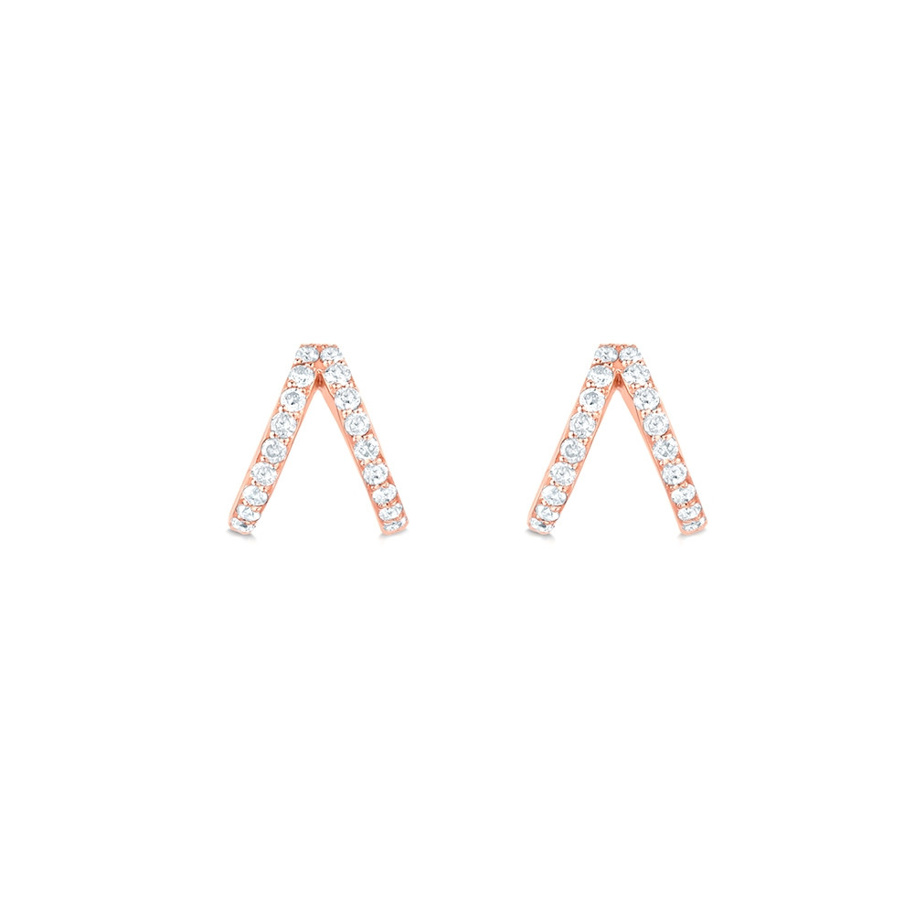 Rose Gold Diamond Split Huggie Earrings by Carbon & Hyde