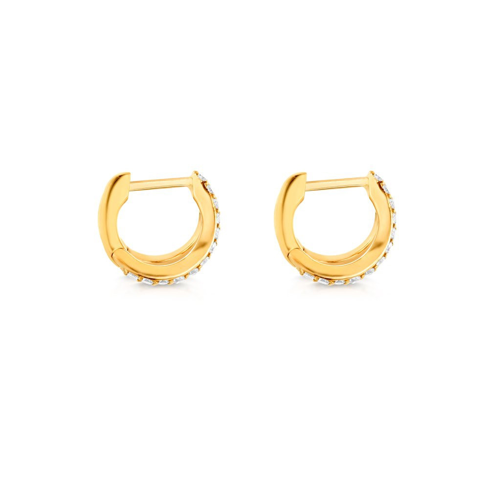 Yellow Gold Diamond Split Huggie Earrings by Carbon & Hyde Side View