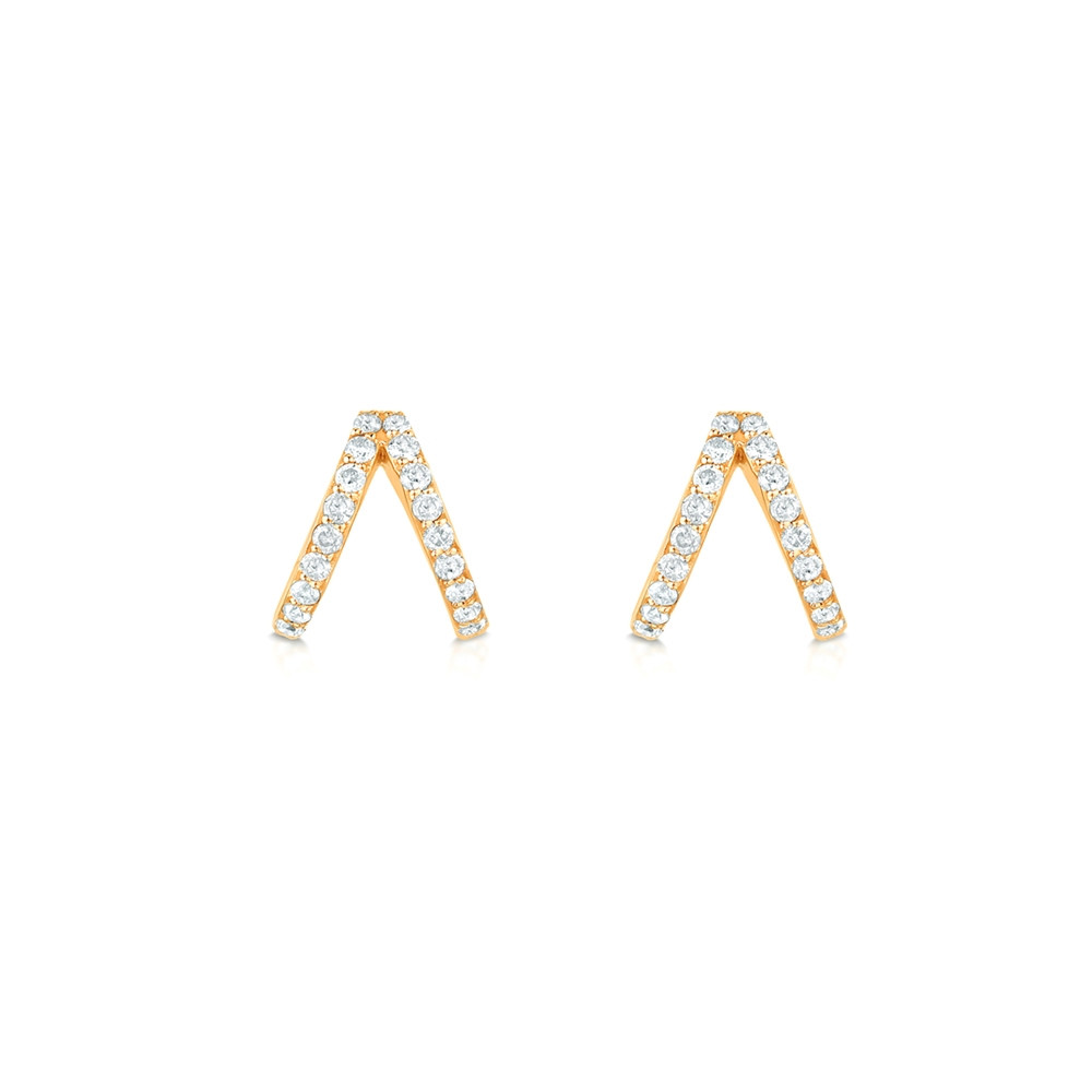 Yellow Gold Diamond Split Huggie Earrings by Carbon & Hyde