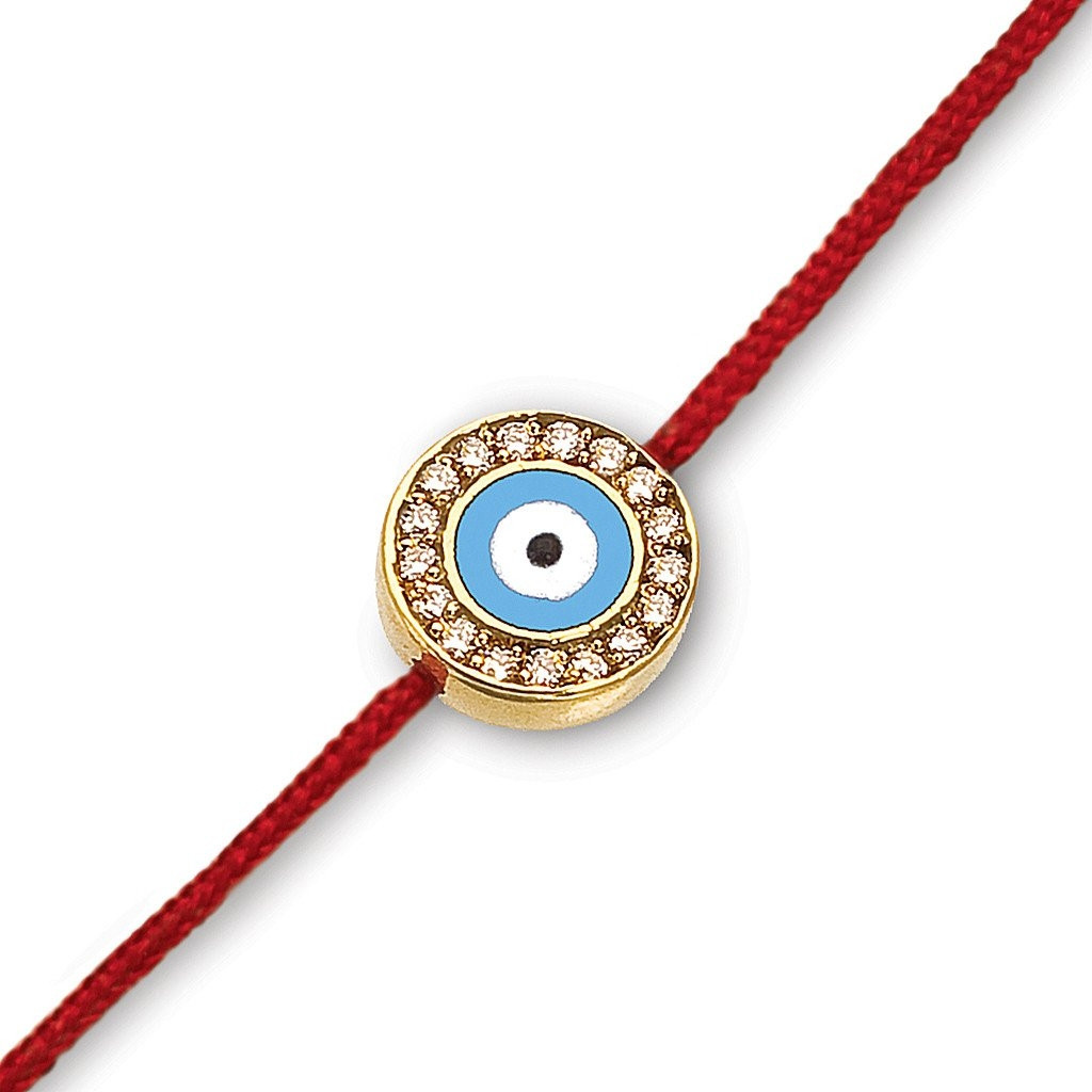 Aaron Basha Light Blue Diamond Evil Eye Bracelet on Red Cord