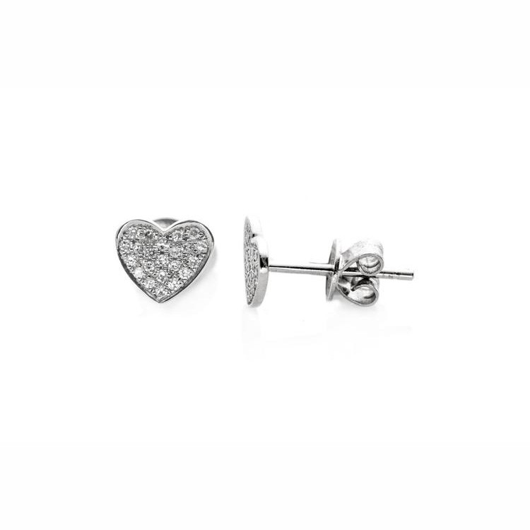 EF Collection White Gold Diamond Heart Stud Earrings