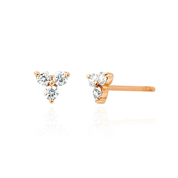 Rose Gold Trio Diamond Stud Earrings by EF Collection