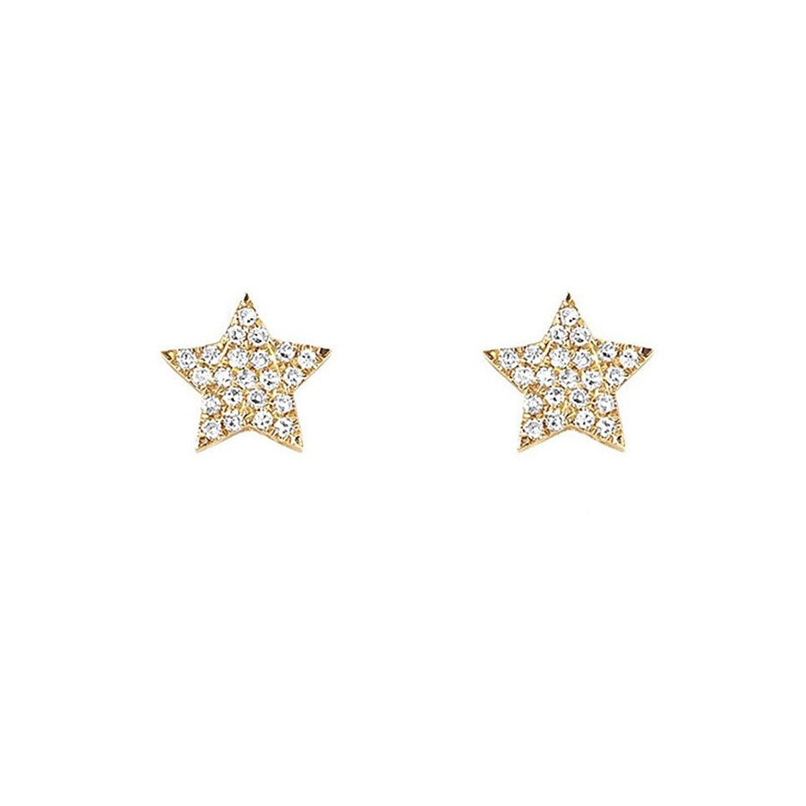 EF Collection Mini Diamond Yellow Gold Star Stud Earrings