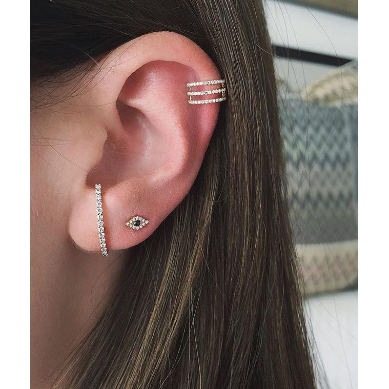 EF Collection Yellow Gold Diamond Ear Cuff on Model