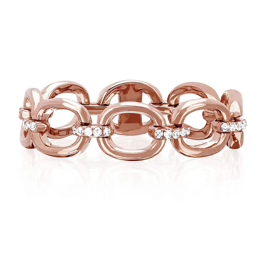 EF Collection Diamond Chain Link Ring Rose Gold
