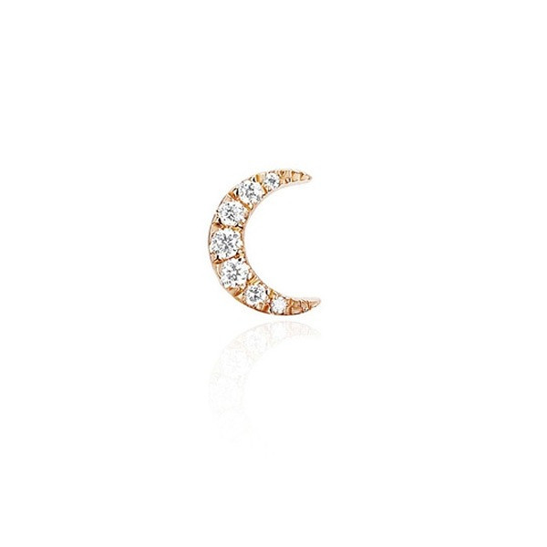 EF Collection Rose Gold Mini Diamond Single Moon Stud Earring