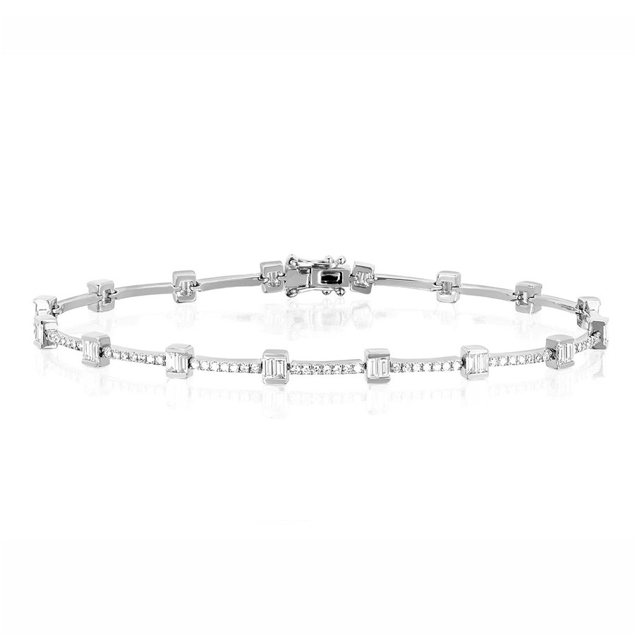 EF Collection Diamond Baguette Eternity White Gold Station Bracelet
