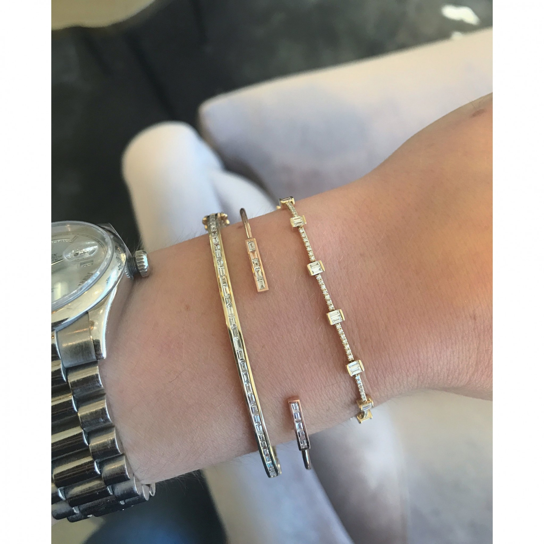EF Collection Diamond Baguette Eternity Yellow Gold Station Bracelet on Model