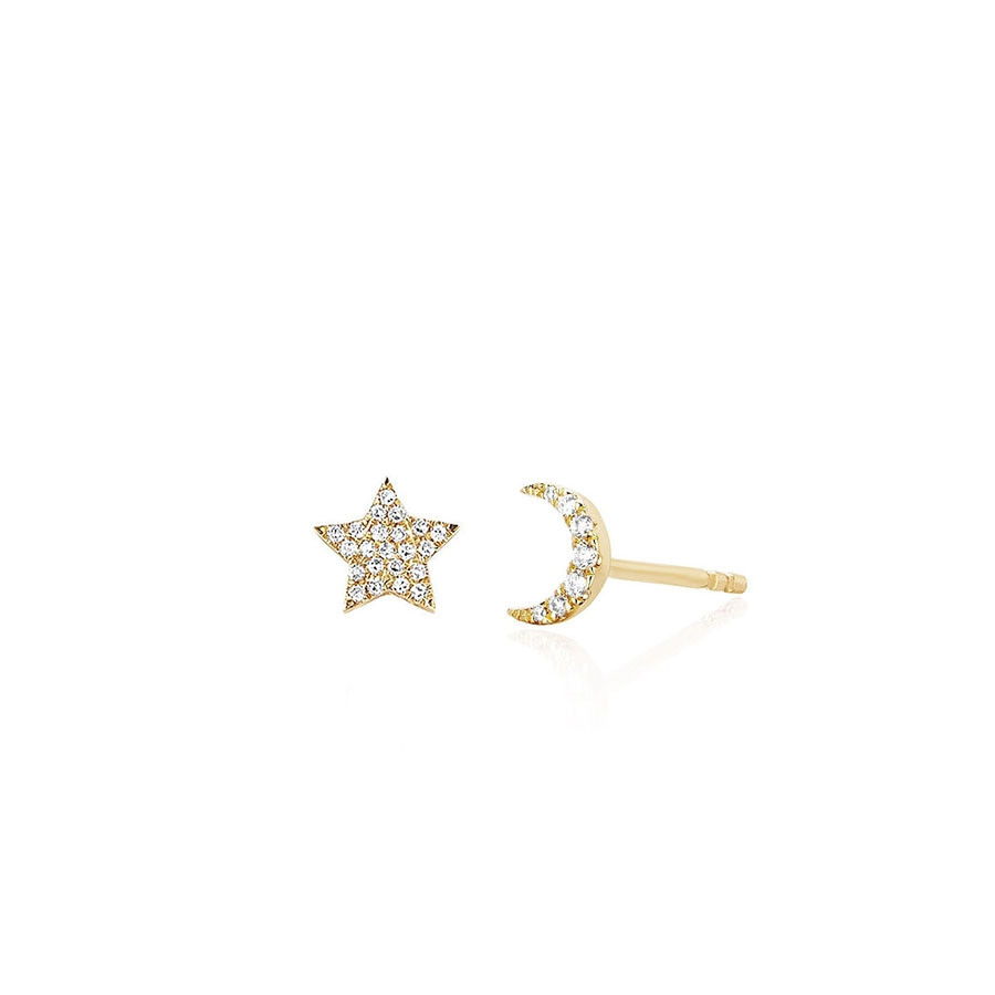 Mini Diamond Moon & Star Stud Earrings by EF Collection