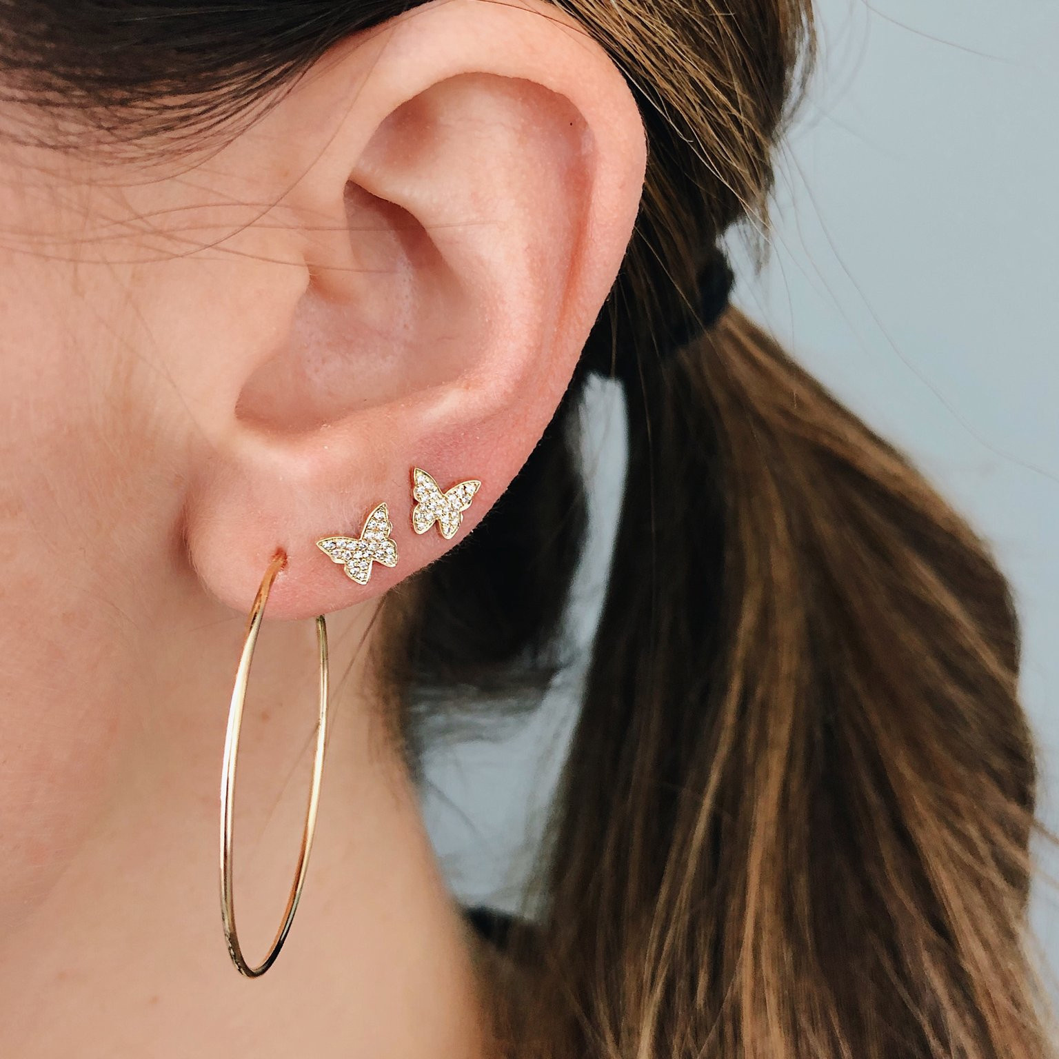 The Perfect Gold Hoop Earrings by EF Collection on Model
