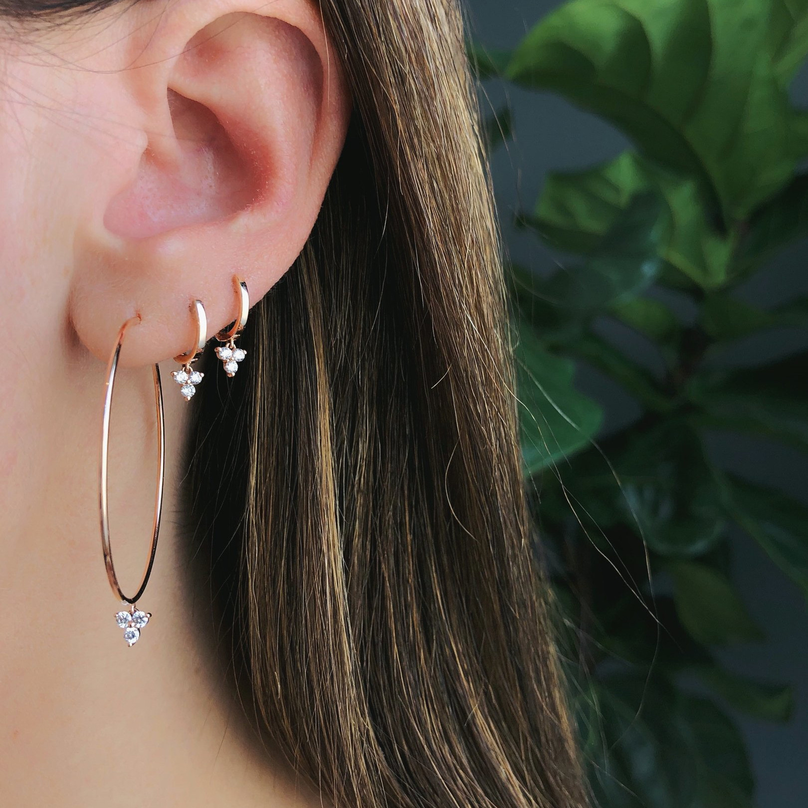 The Perfect Diamond Trio Drop Hoop Earrings by EF Collection on Model