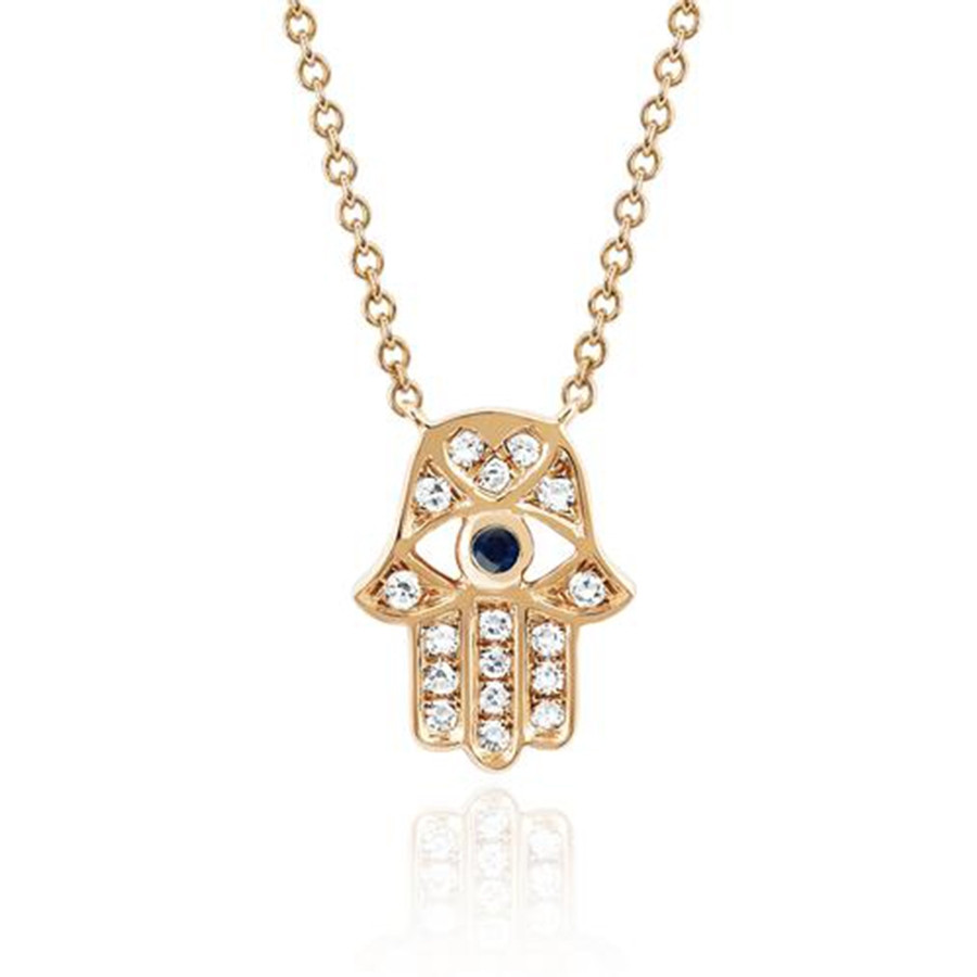 EF Collection Rose Gold Diamond & Blue Sapphire Hamsa Evil Eye Pendant Necklace
