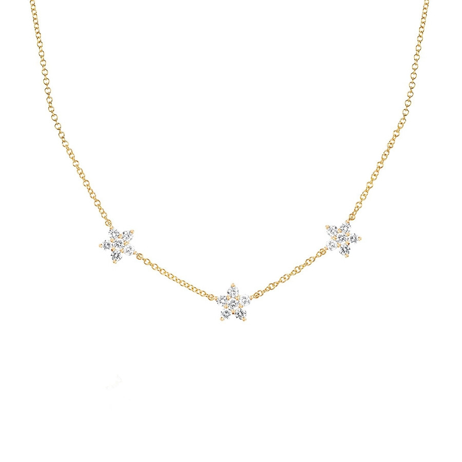 Triple Diamond Flower Station Necklace by EF Collection