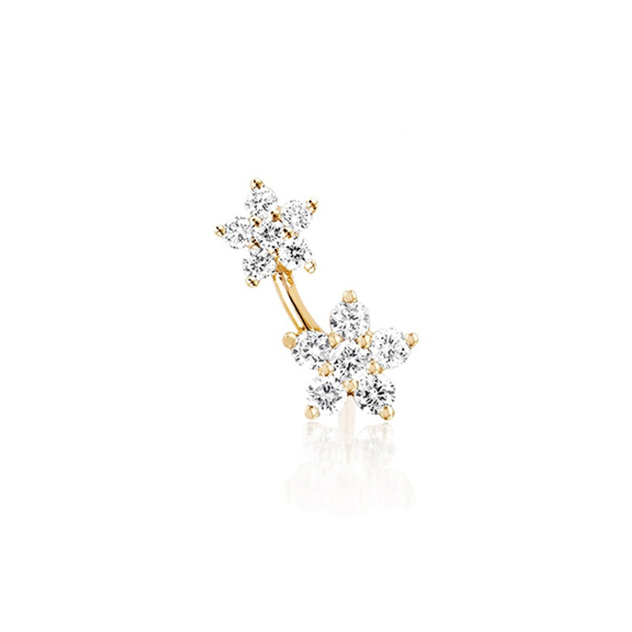 Left Diamond Double Flower Stud Earring by EF Collection