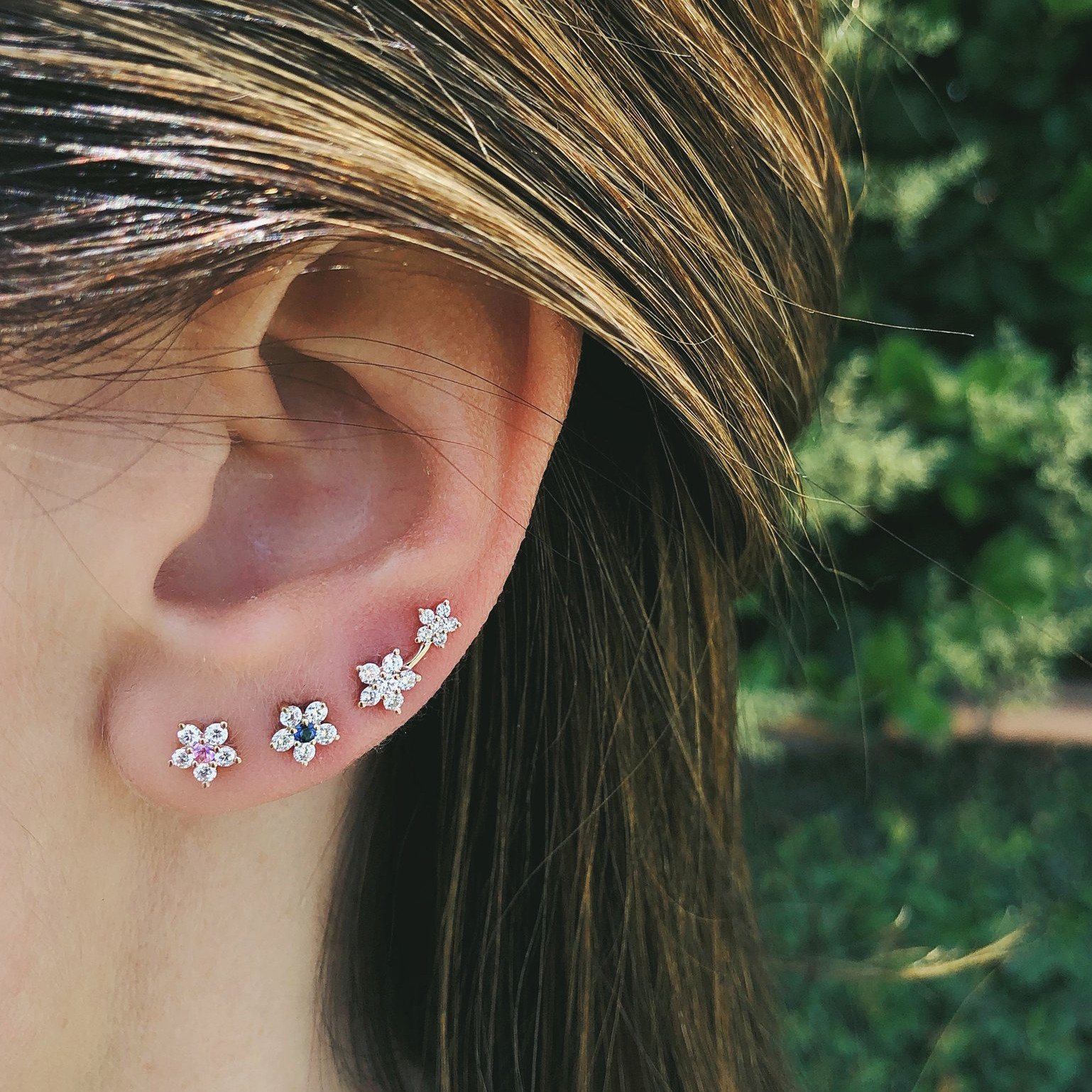 Right Diamond Double Flower Stud Earring by EF Collection on Model