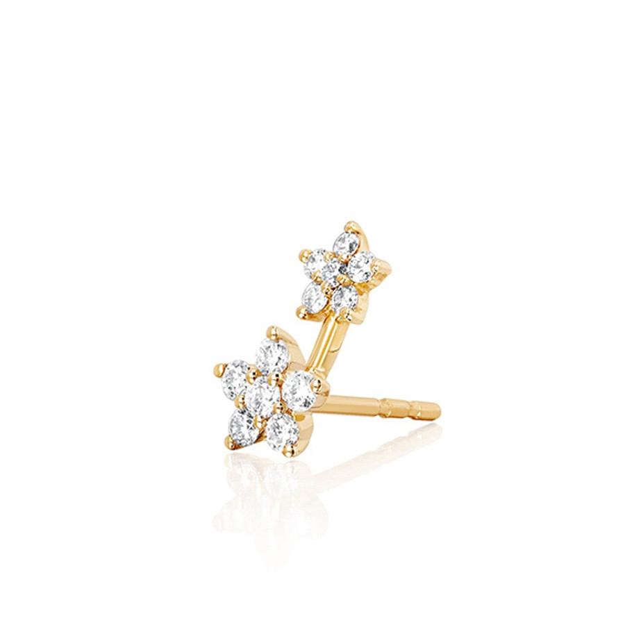 Right Diamond Double Flower Stud Earring by EF Collection