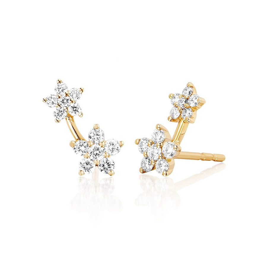 Diamond Double Flower Stud Earrings by EF Collection