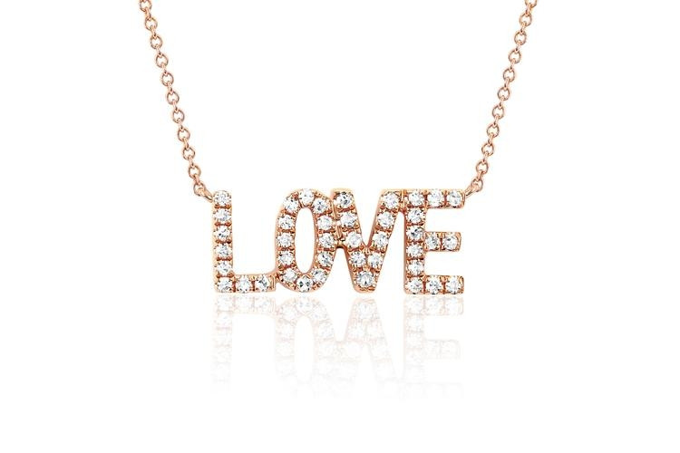 EF Collection Love Diamond Necklace in rose gold