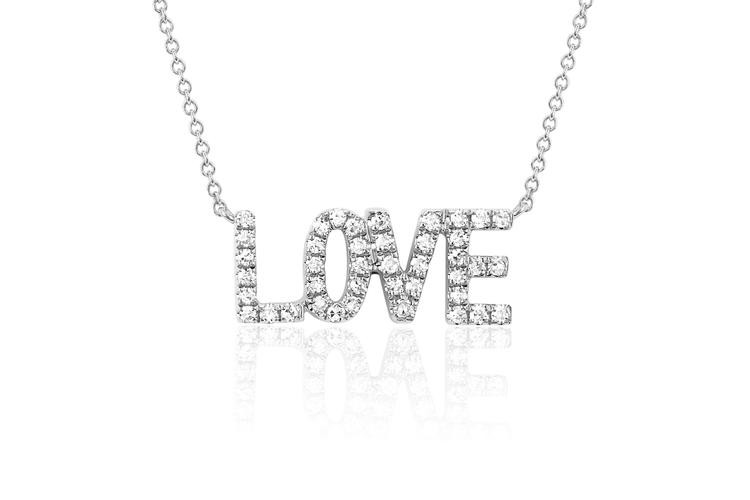 EF Collection Love Diamond Necklace in white gold