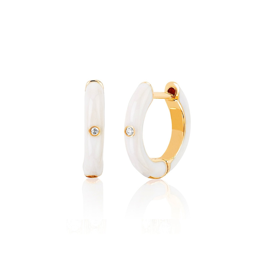 White Enamel & Diamond Huggie Earrings by EF Collection