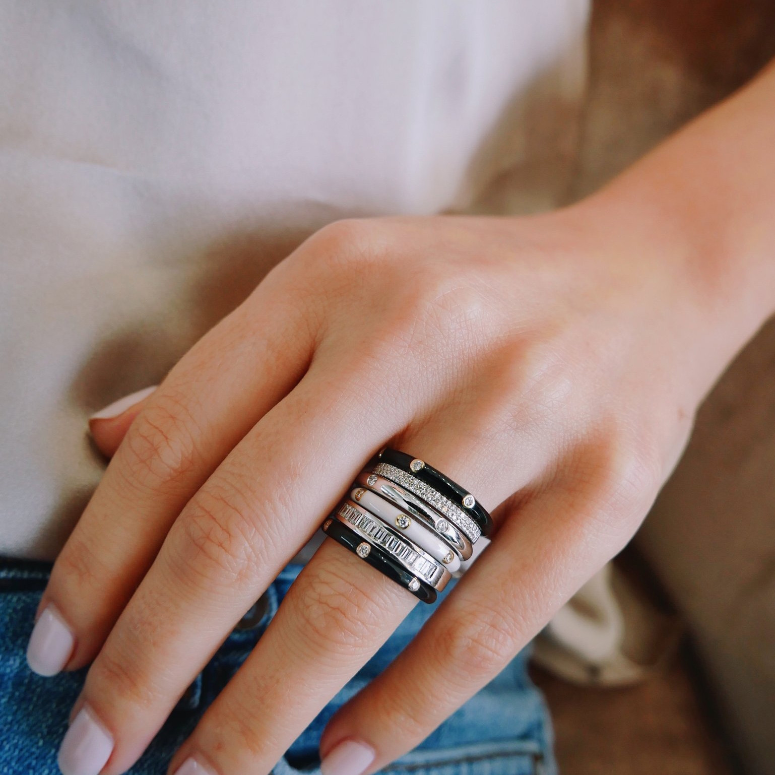 Black Enamel 5 Diamond Stack Ring  by EF Collection on Model