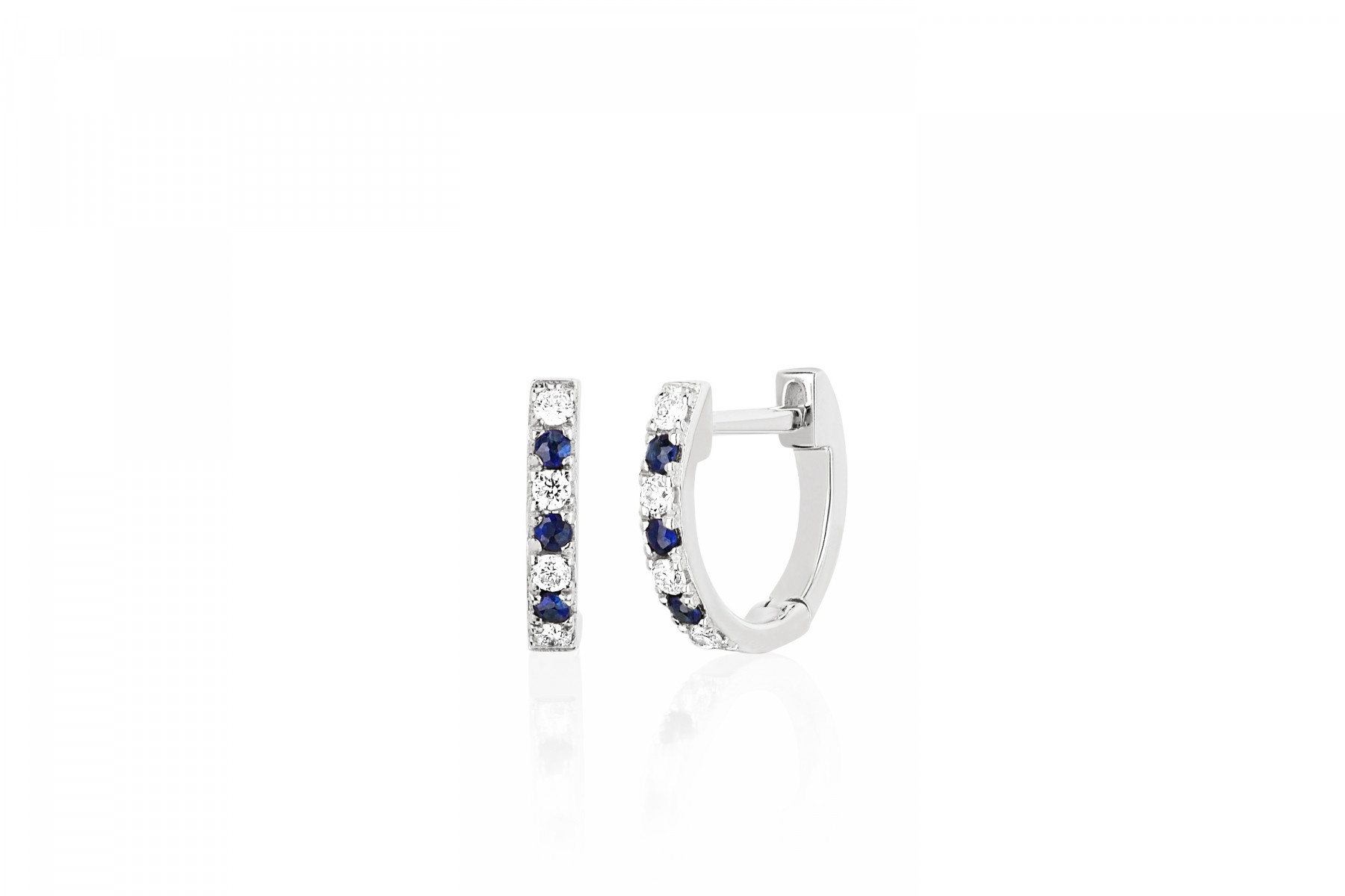 EF Collection Diamond and Blue Sapphire Huggies in 14K White Gold
