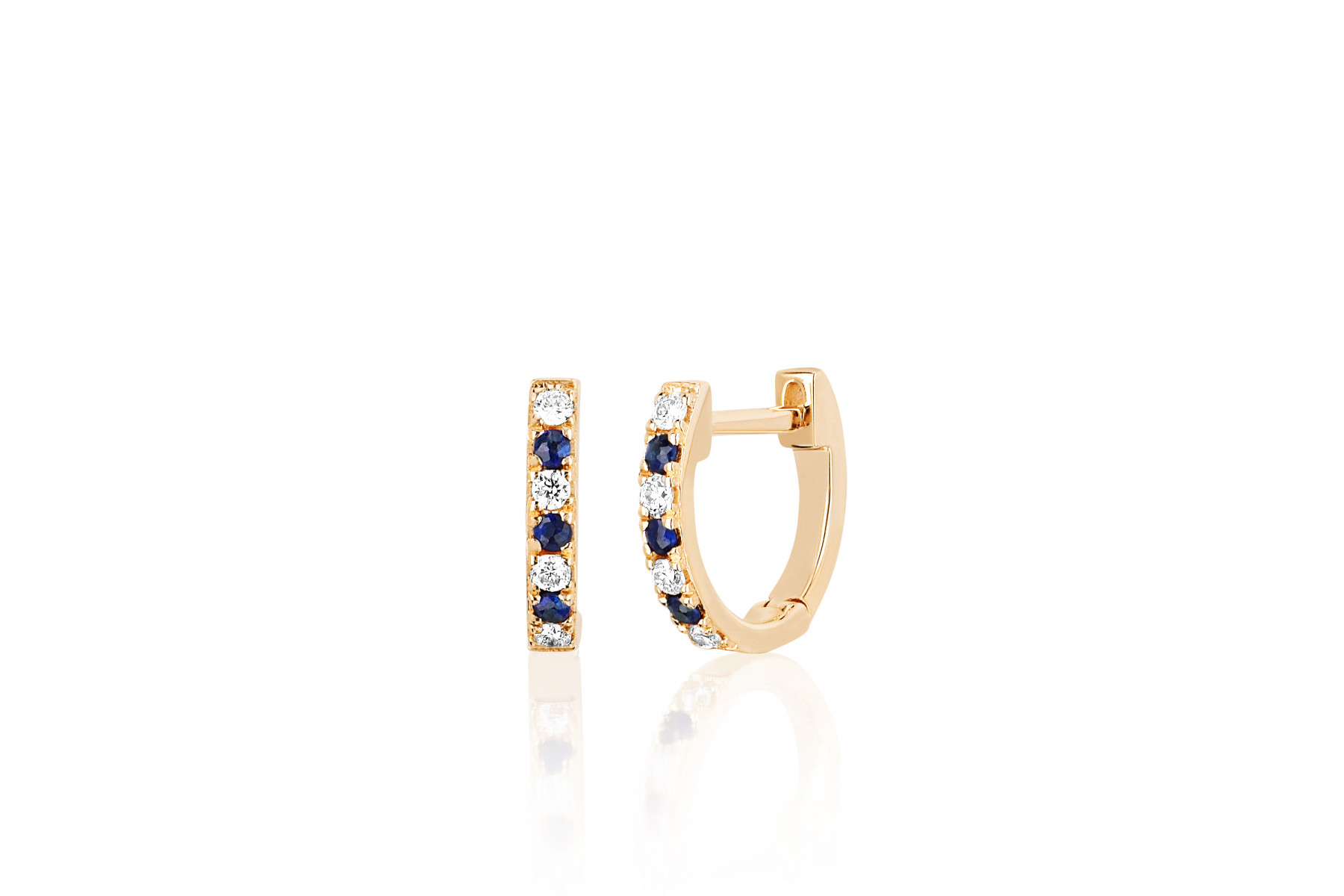 EF Collection Diamond and Blue Sapphire Huggies in 14K Yellow Gold