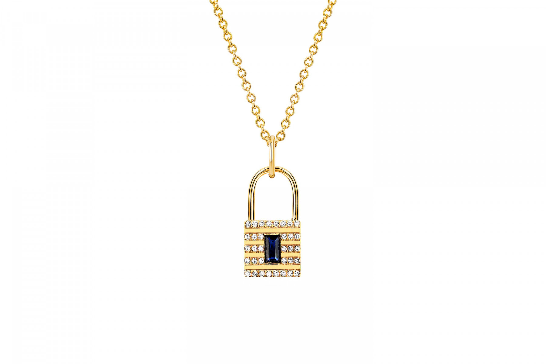EF Collection Blue Sapphire and Diamond Lock Necklace in 14K Gold
