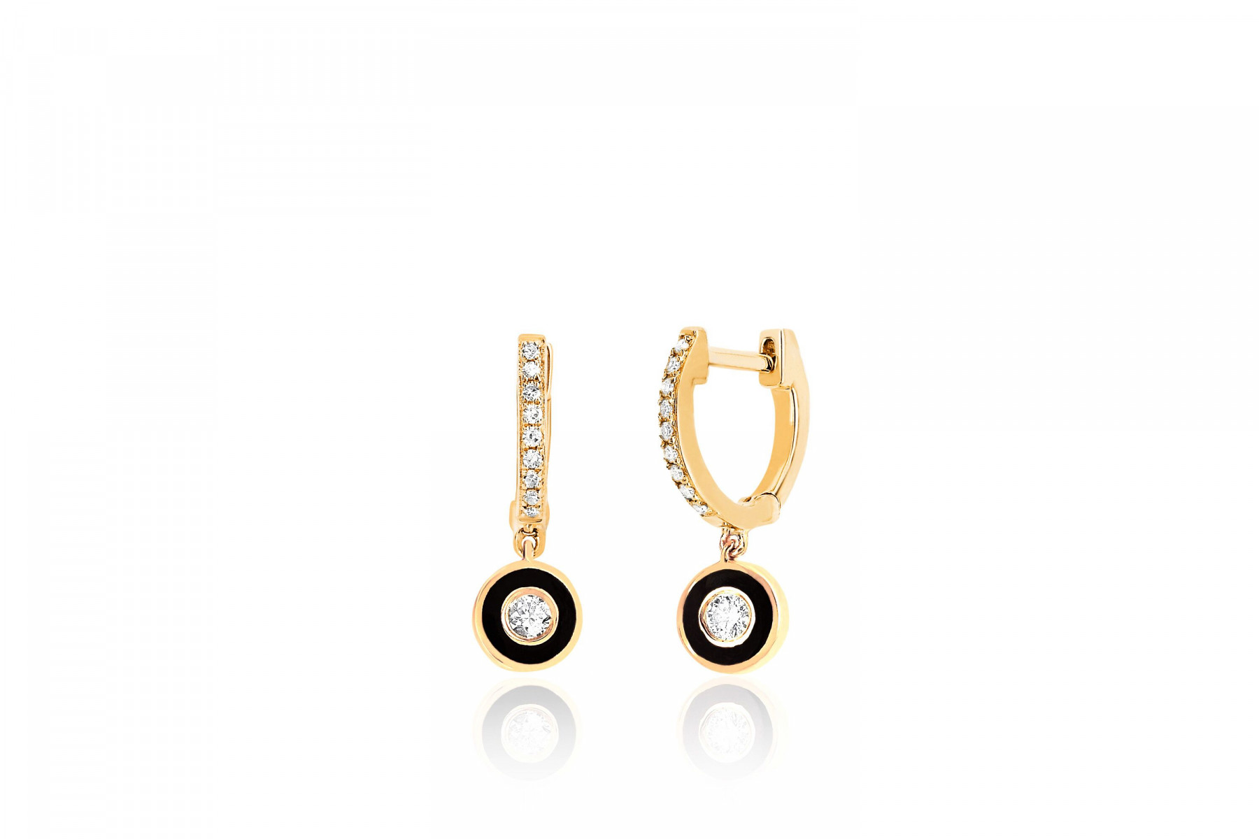 EF Collection Black and Diamond Huggies in 14K Gold