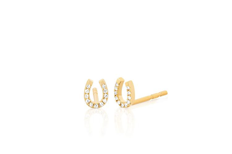 EF Collection Diamond Horseshoe Studs in 14K Gold front view