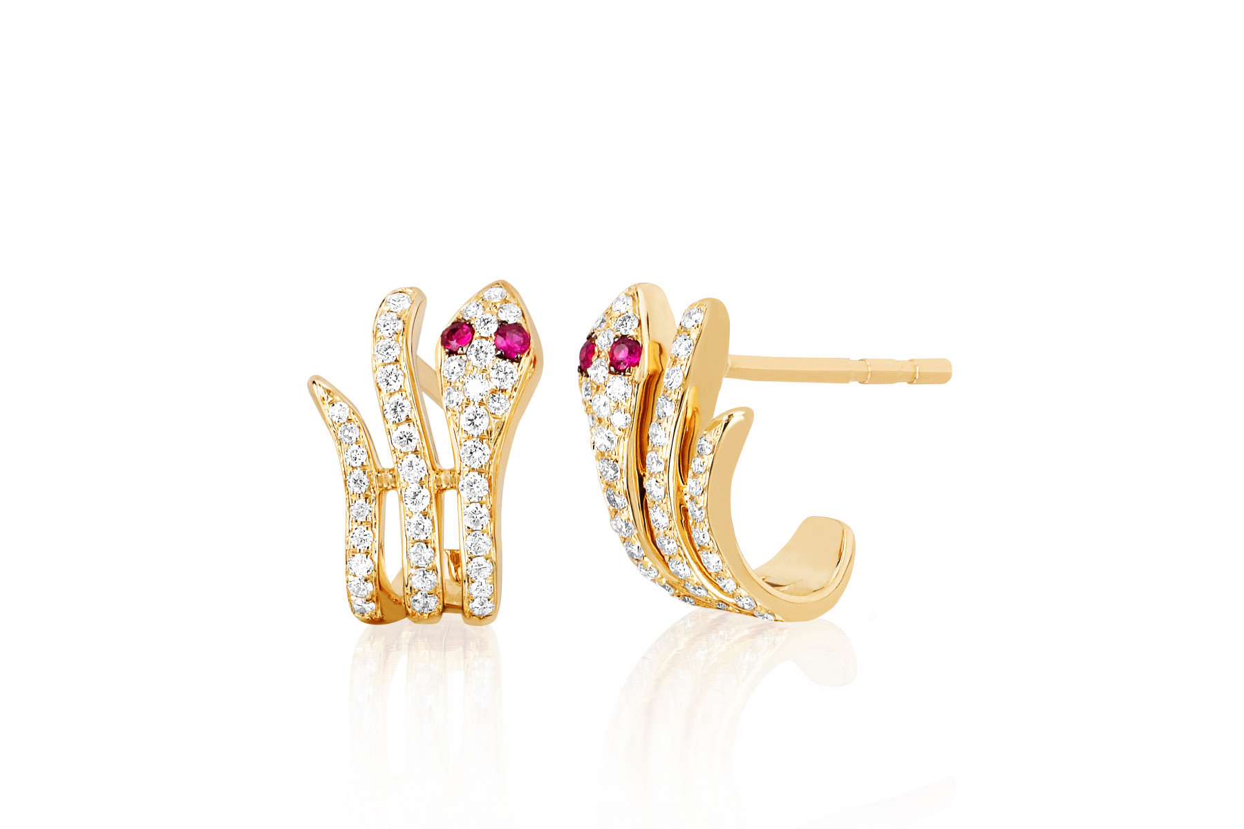 EF Collection Diamond Snake Huggie Earrings in 14K Yellow Gold
