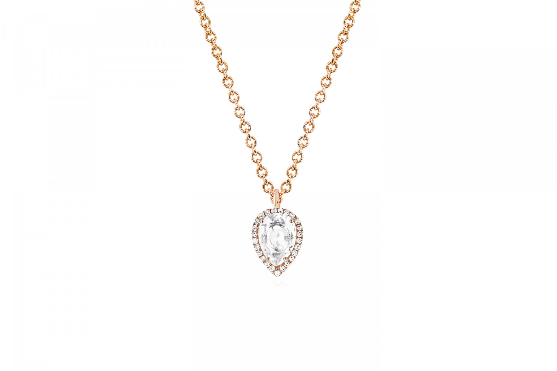 EF Collection White Topaz and Diamond Teardrop Necklace rose gold